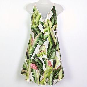 FARM Rio White Palms Drop Waist Mini Dress